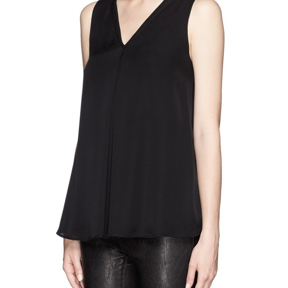 44e308bb841 THEORY 100% silk black v-neck tank top – S